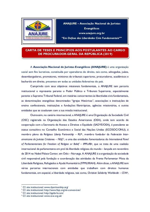 """ANAJURE – Associação Nacional de Juristas Evangélicos www.anajure.org.br """"Em Defesa das Liberdades Civis Fundamentais"""""""" A ..."""