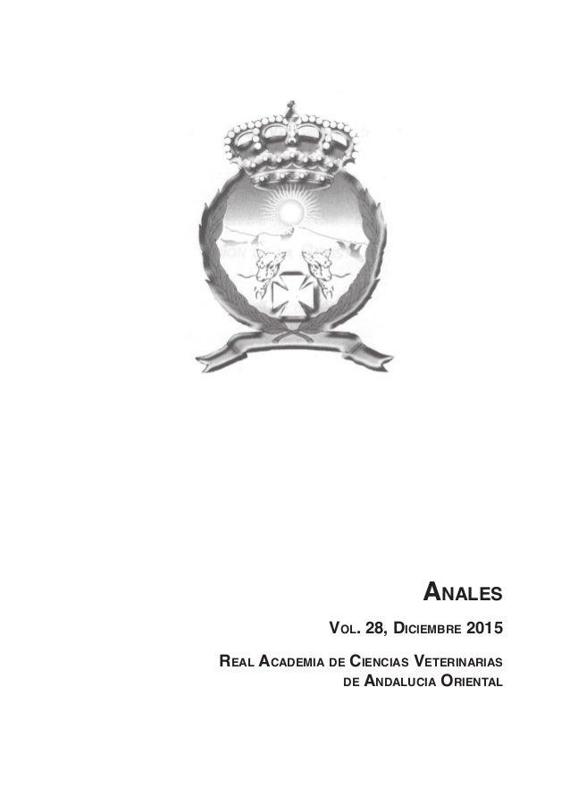 Anales Vol. 28, Diciembre 2015 Real Academia de Ciencias Veterinarias de Andalucia Oriental
