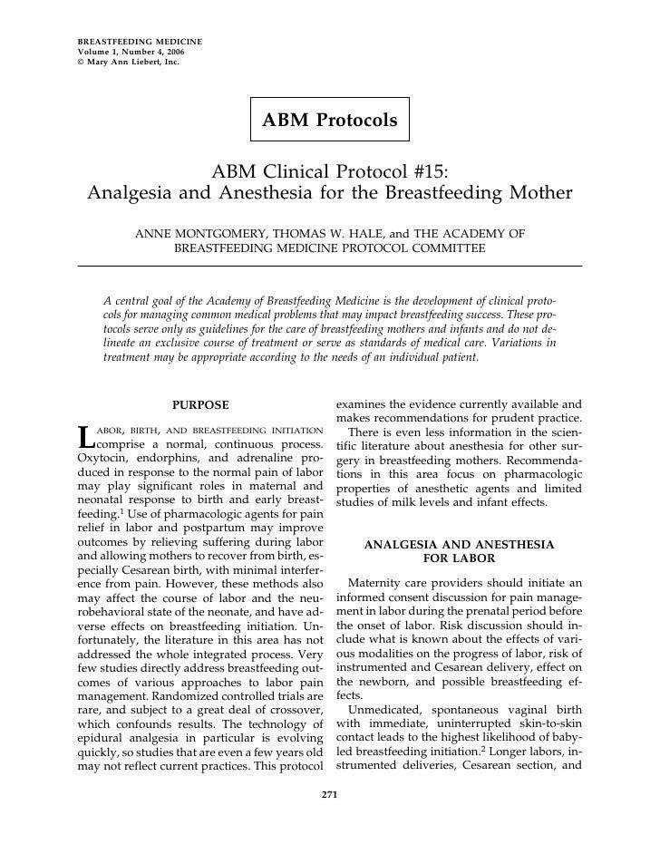 BREASTFEEDING MEDICINE Volume 1, Number 4, 2006 © Mary Ann Liebert, Inc.                                           ABM Pro...