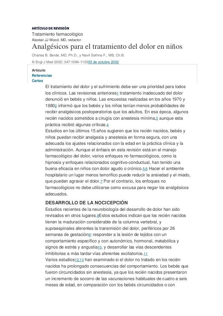 ARTÍCULO DE REVISIÓN<br />Tratamiento farmacológico<br />Alastair JJ Wood, MD, redactor<br />Analgésicos para el tratamien...