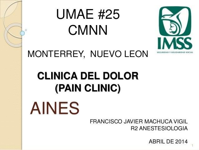 AINES  1  UMAE #25  CMNN  MONTERREY, NUEVO LEON  CLINICA DEL DOLOR  (PAIN CLINIC)  FRANCISCO JAVIER MACHUCA VIGIL  R2 ANES...