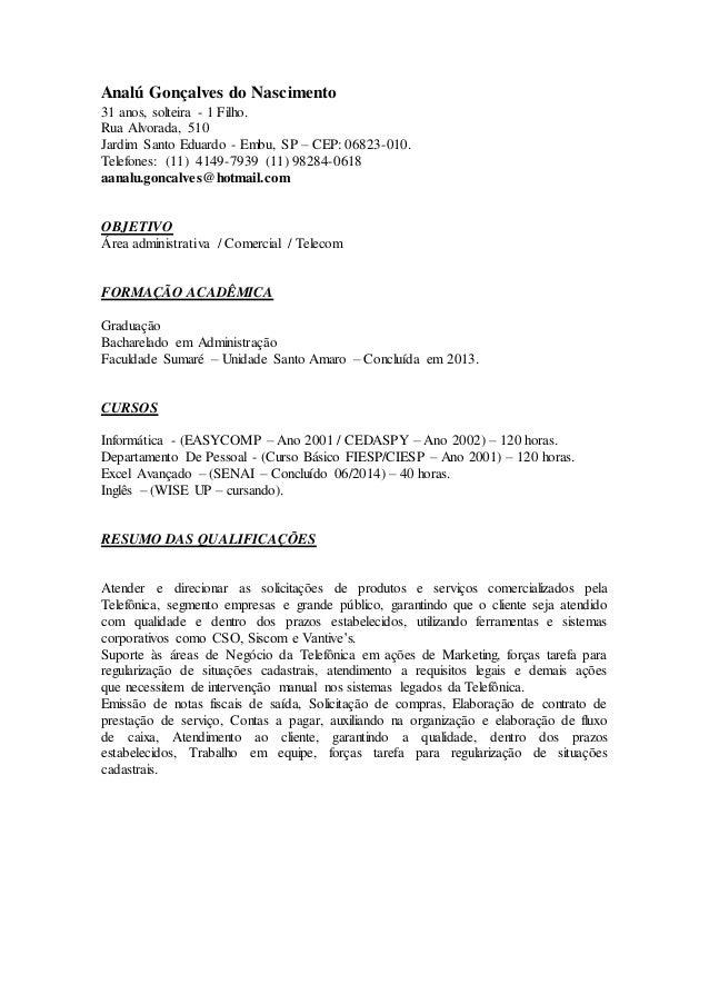 Analú Gonçalves do Nascimento  31 anos, solteira - 1 Filho.  Rua Alvorada, 510  Jardim Santo Eduardo - Embu, SP – CEP: 068...