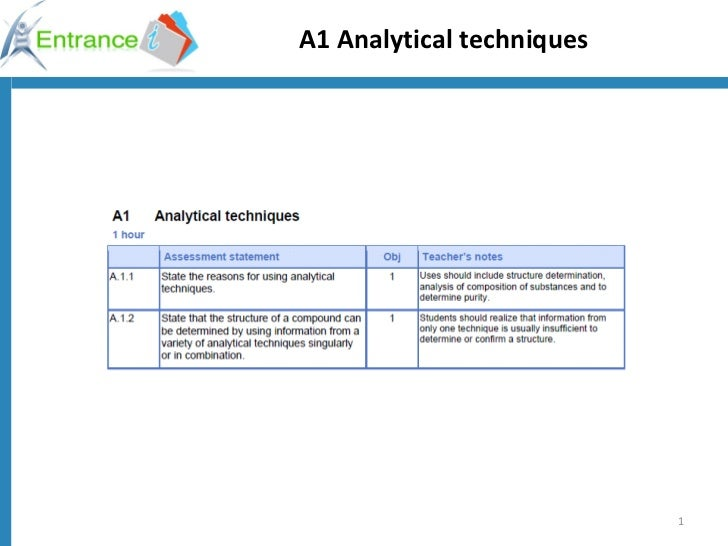 A1 Analytical techniques