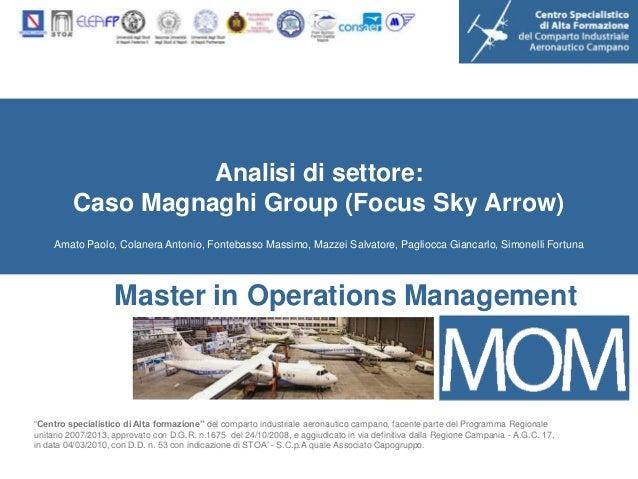 Analisi di settore:         Caso Magnaghi Group (Focus Sky Arrow)    Amato Paolo, Colanera Antonio, Fontebasso Massimo, Ma...