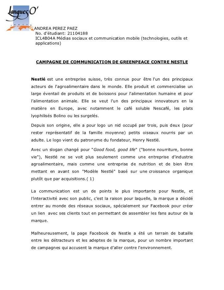 ANDREA PEREZ PAEZ No. d'étudiant: 21104188 ICL4B04A Médias sociaux et communication mobile (technologies, outils et applic...