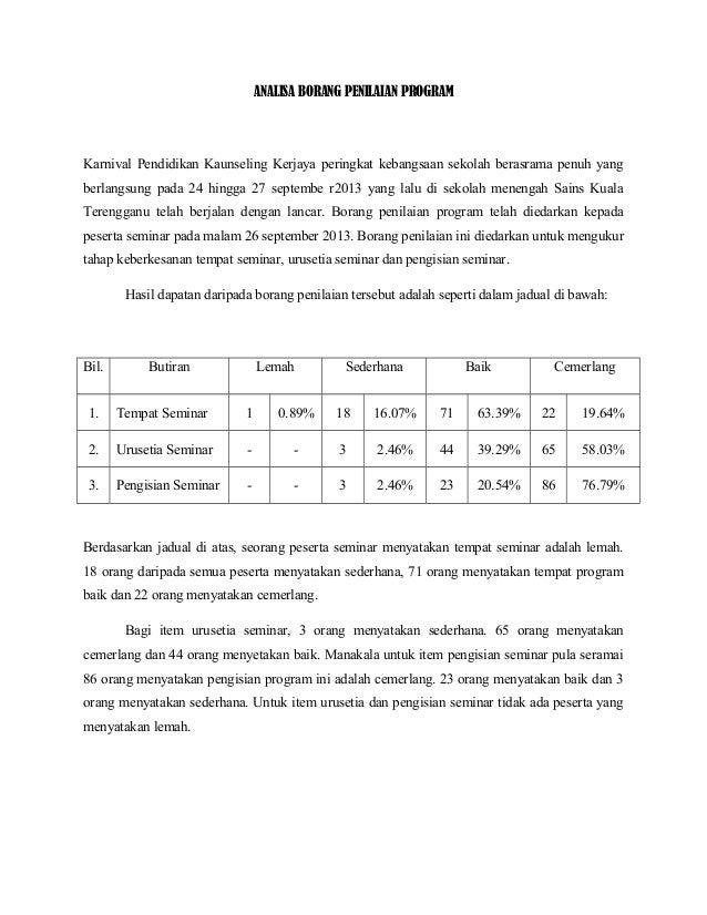 Analisa Borang Penilaian Program