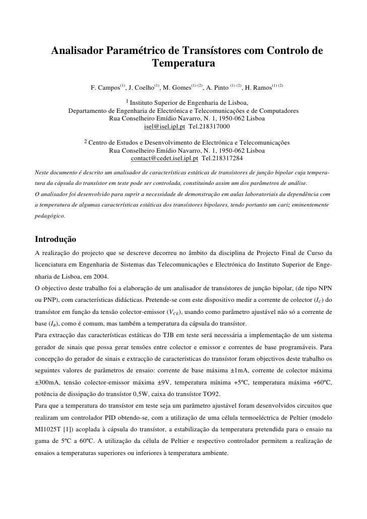 Analisador Paramétrico de Transístores com Controlo de                         Temperatura                      F. Campos(...