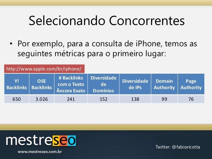 Selecionando Concorrentes<br />Por exemplo, para a consulta de iPhone, temos as seguintes métricas para o primeiro lugar:<...