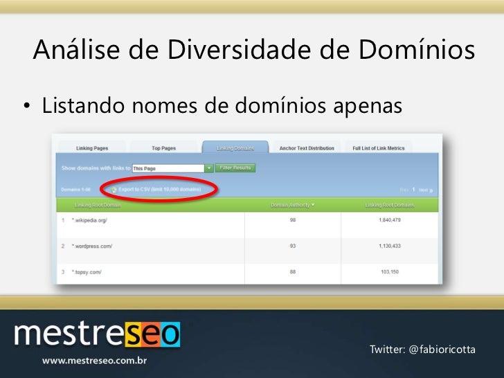 Análise de Diversidade de Domínios<br />Listando nomes de domínios apenas<br />