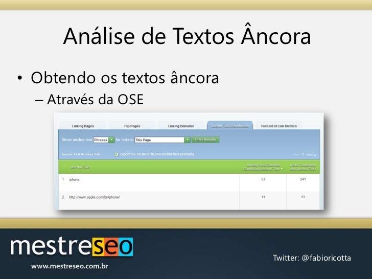 Análise de Textos Âncora<br />Obtendo os textos âncora<br />Através da OSE<br />