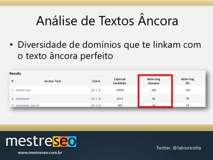 Análise de Textos Âncora<br />Diversidade de domínios que te linkam com o texto âncora perfeito<br />