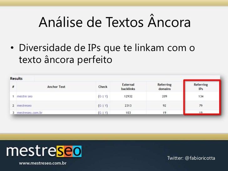 Análise de Textos Âncora<br />Diversidade de IPs que te linkam com o texto âncora perfeito<br />