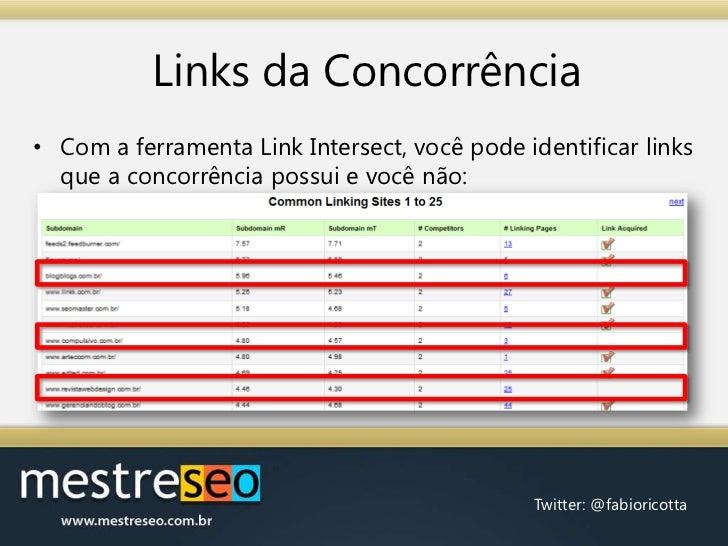 Links da Concorrência<br />Com a ferramenta Link Intersect, você pode identificar links que a concorrência possui e você n...