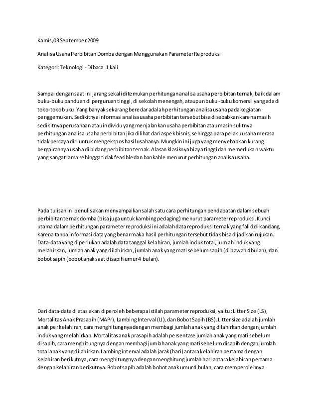 Kamis,03September2009 AnalisaUsahaPerbibitanDombadenganMenggunakanParameterReproduksi Kategori:Teknologi - Dibaca:1 kali S...