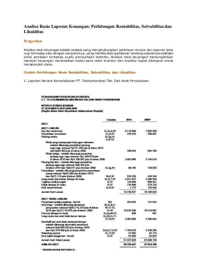 Analisa Rasio Laporan Keuangan