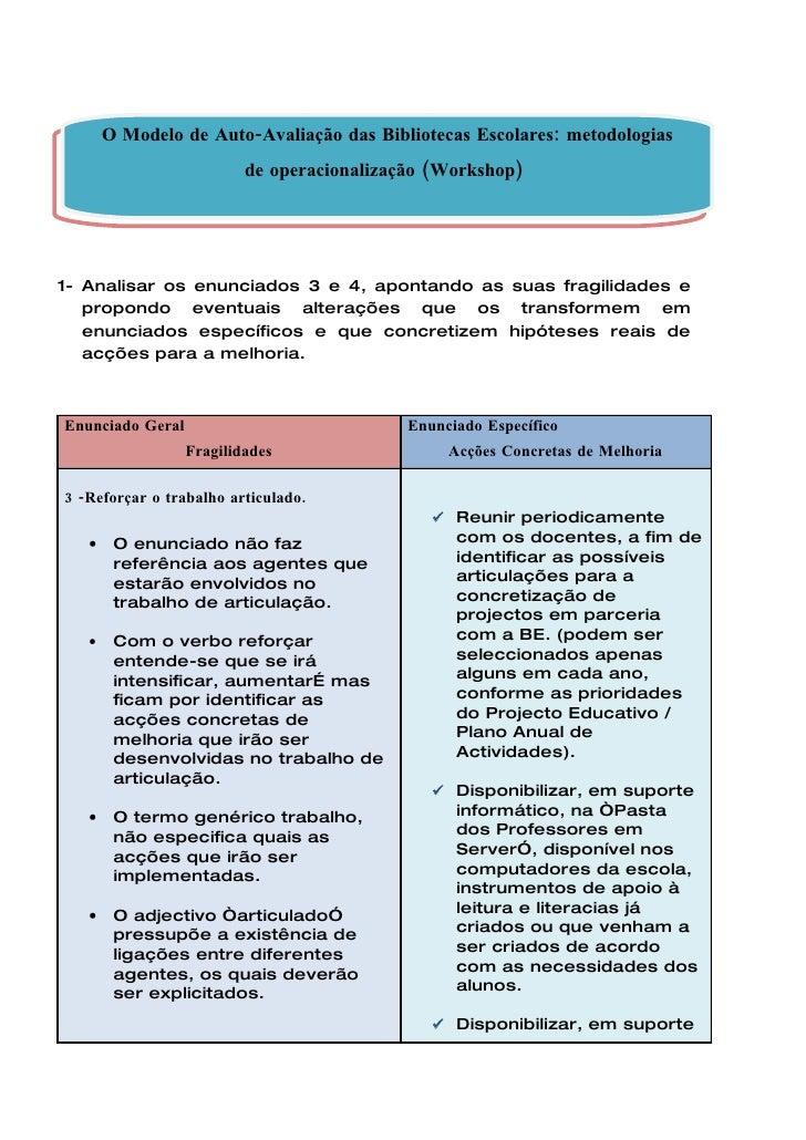 O Modelo de Auto-Avaliação das Bibliotecas Escolares: metodologias                           de operacionalização (Worksho...
