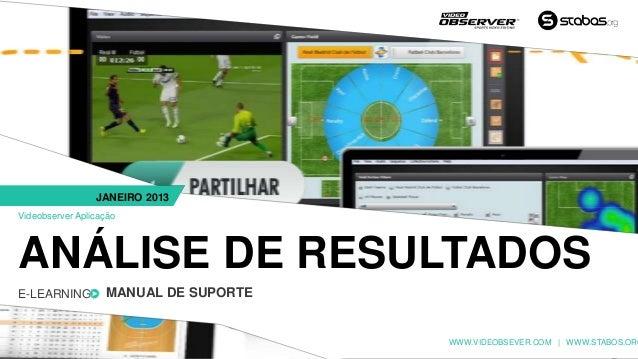 JANEIRO 2013Videobserver AplicaçãoANÁLISE DE RESULTADOSE-LEARNING         MANUAL DE SUPORTE                               ...