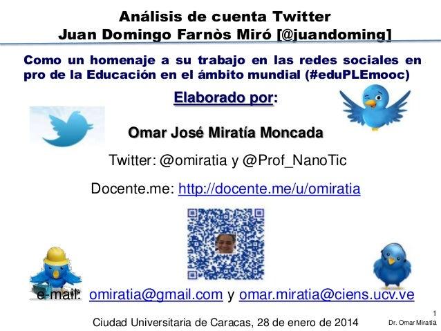 Análisis de cuenta Twitter Juan Domingo Farnòs Miró [@juandoming] Como un homenaje a su trabajo en las redes sociales en p...