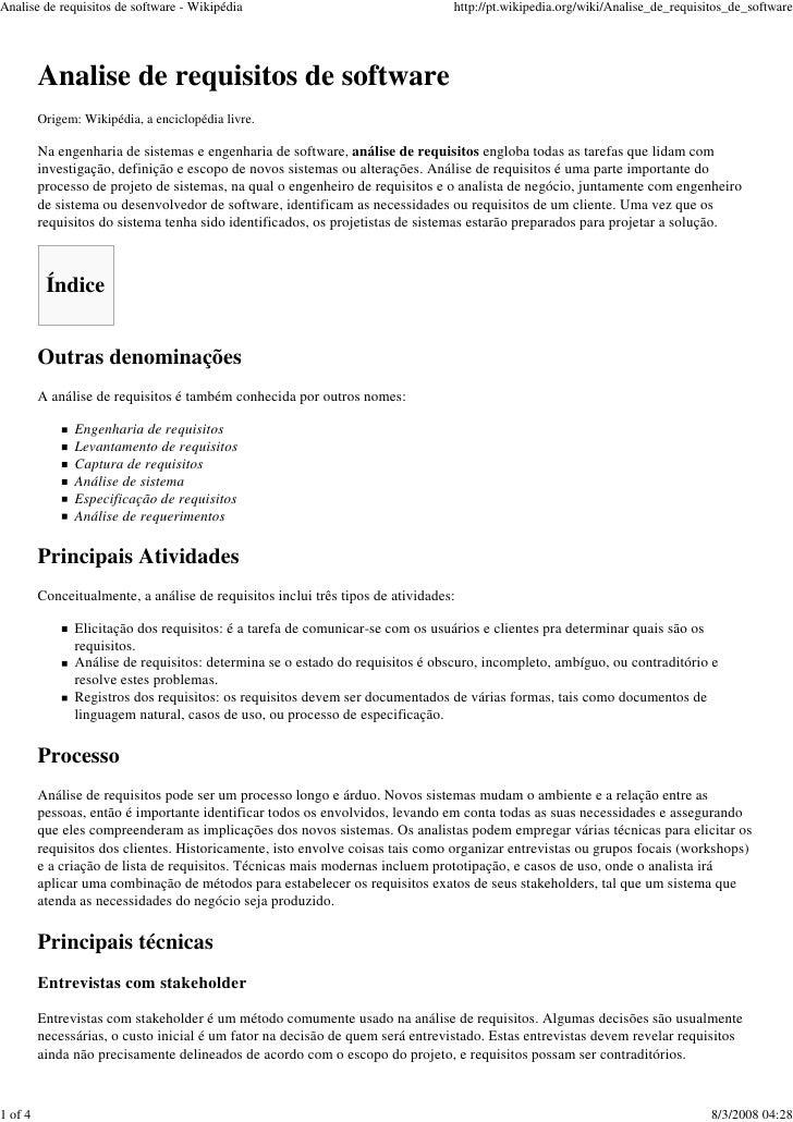 Analise de requisitos de software - Wikipédia                                    http://pt.wikipedia.org/wiki/Analise_de_r...