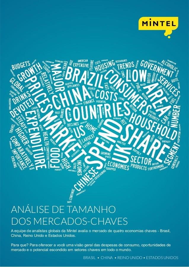 ANÁLISE DE TAMANHO DOS MERCADOS-CHAVES A equipe de analistas globais da Mintel avalia o mercado de quatro economias chaves...