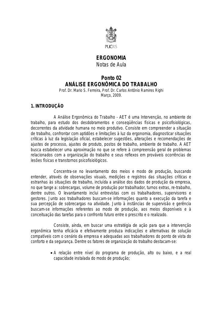 ERGONOMIA                                       Notas de Aula                               Ponto 02                   ANÁ...