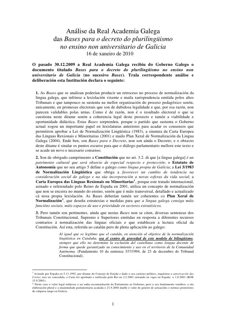 Análise da Real Academia Galega                 das Bases para o decreto do plurilingüismo                   no ensino non...