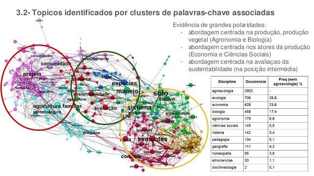 3.2- Topicos identificados por clusters de palavras-chave associadas Evidência de grandes polaridades: - abordagem centrad...