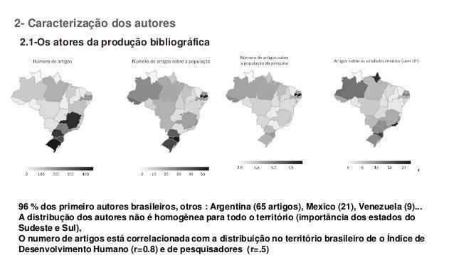 2- Caracterização dos autores 2.1-Os atores da produção bibliográfica 96 % dos primeiro autores brasileiros, otros : Argen...