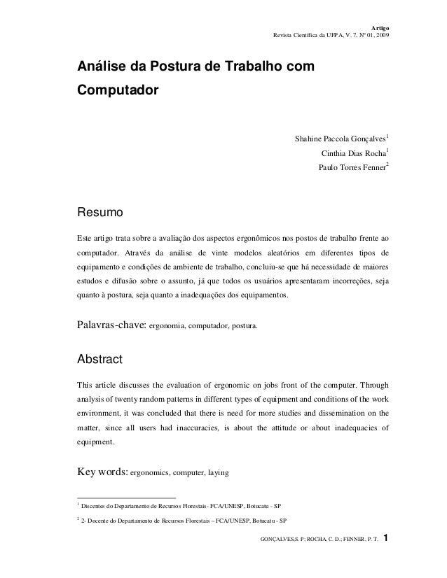 Artigo Revista Científica da UFPA, V. 7, Nº 01, 2009 GONÇALVES,S. P; ROCHA, C. D.; FENNER, P. T. 1 Análise da Postura de T...