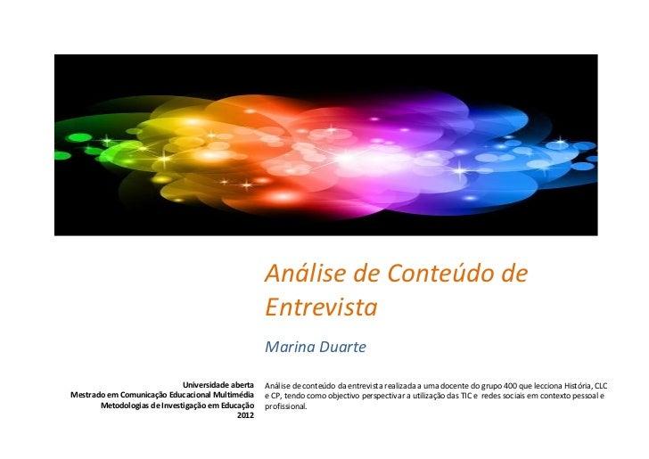Análise de Conteúdo de                                                   Entrevista                                       ...
