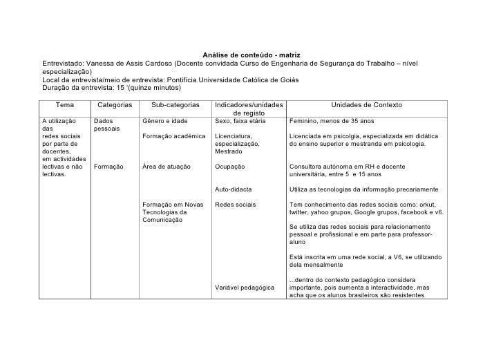 Análise de conteúdo - matriz Entrevistado: Vanessa de Assis Cardoso (Docente convidada Curso de Engenharia de Segurança do...