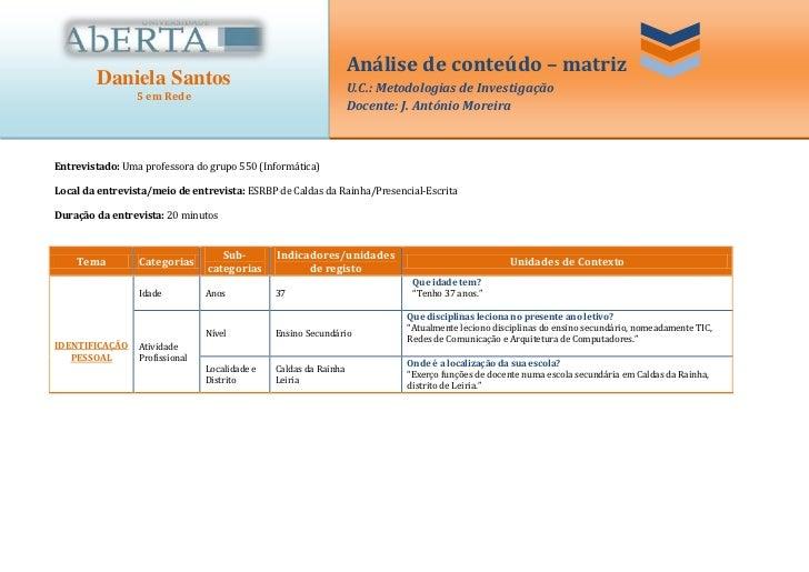 Análise de conteúdo – matriz        Daniela Santos                                            U.C.: Metodologias de Invest...