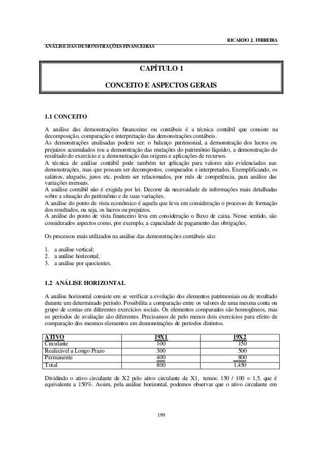 RICARDO J. FERREIRA ANÁLISE DAS DEMONSTRAÇÕESFINANCEIRAS 199 CAPÍTULO 1 CONCEITO E ASPECTOS GERAIS 1.1 CONCEITO A análise ...
