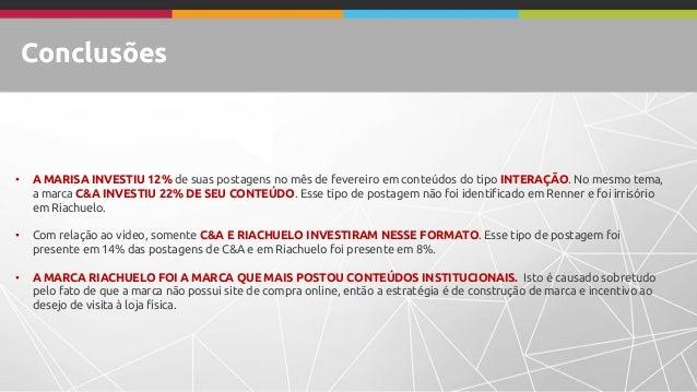 Conclusões • A MARISA INVESTIU 12% de suas postagens no mês de fevereiro em conteúdos do tipo INTERAÇÃO. No mesmo tema, a ...