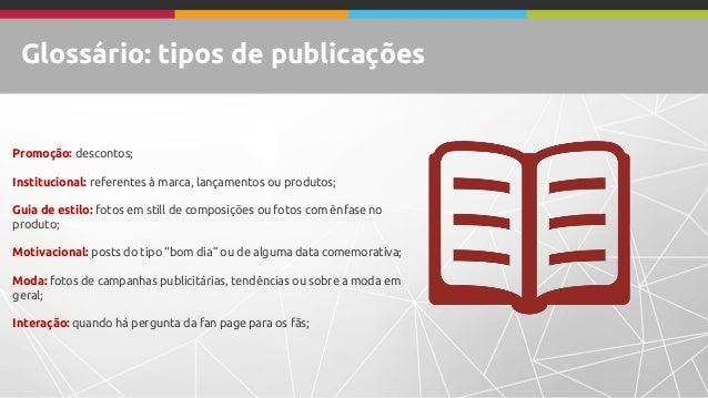 Glossário: tipos de publicações Promoção: descontos; Institucional: referentes à marca, lançamentos ou produtos; Guia de e...