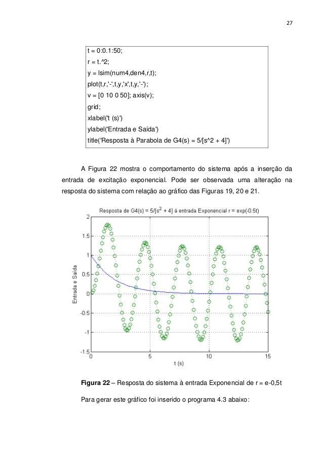 27 t = 0:0.1:50; r = t.^2; y = lsim(num4,den4,r,t); plot(t,r,'-',t,y,'x',t,y,'-'); v = [0 10 0 50]; axis(v); grid; xlabel(...