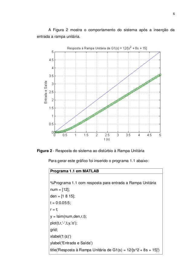 6 A Figura 2 mostra o comportamento do sistema após a inserção da entrada a rampa unitária. Figura 2 - Resposta do sistema...