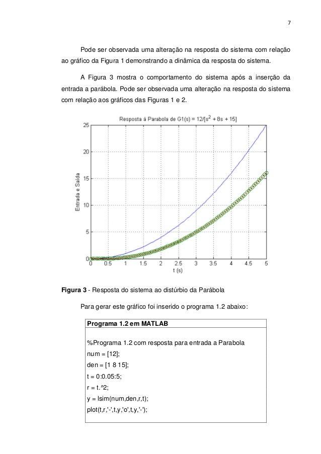 7 Pode ser observada uma alteração na resposta do sistema com relação ao gráfico da Figura 1 demonstrando a dinâmica da re...