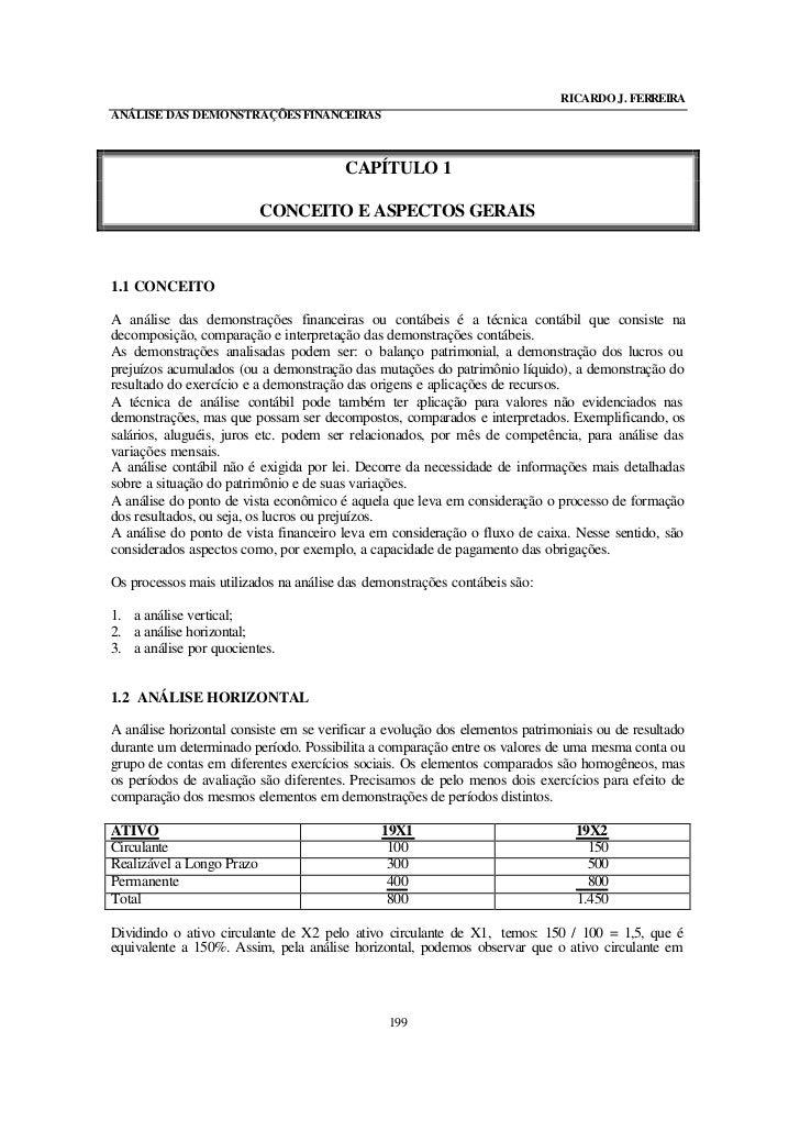 RICARDO J. FERREIRAANÁLISE DAS DEMONSTRAÇÕES FINANCEIRAS                                        CAPÍTULO 1                ...