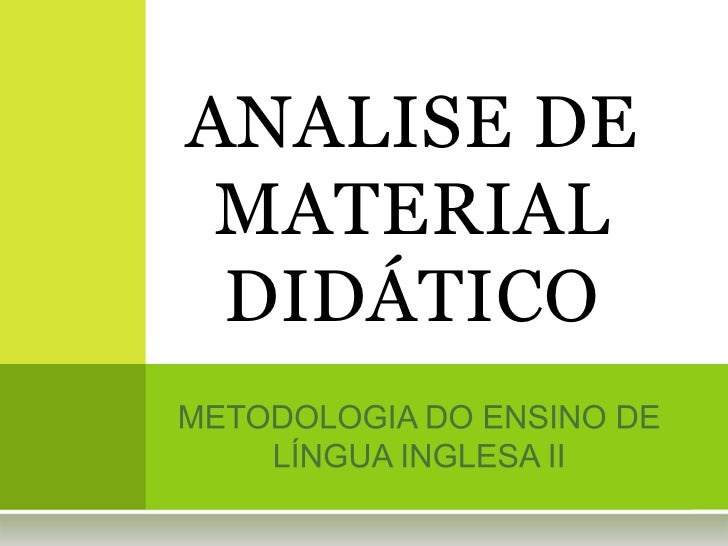 ANALISE DE MATERIAL DIDÁTICO
