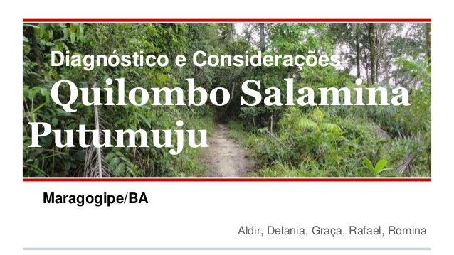 Diagnóstico e Considerações Quilombo Salamina Putumuju Maragogipe/BA Aldir, Delania, Graça, Rafael, Romina