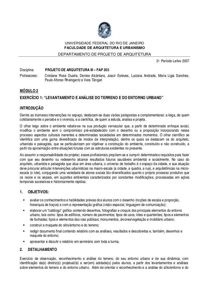UNIVERSIDADE FEDERAL DO RIO DE JANEIRO                               FACULDADE DE ARQUITETURA E URBANISMO                 ...