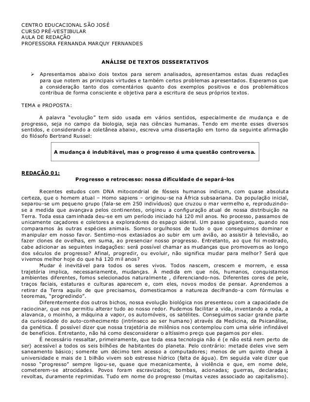 CENTRO EDUCACIONAL SÃO JOSÉ CURSO PRÉ-VESTIBULAR AULA DE REDAÇÃO PROFESSORA FERNANDA MARQUY FERNANDES ANÁLISE DE TEXTOS DI...