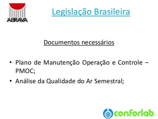 1  LegislaçãoBrasileira  Documentos necessários  •PlanodeManutençãoOperaçãoeControle– PMOC;  •AnálisedaQualidadedoArSemest...