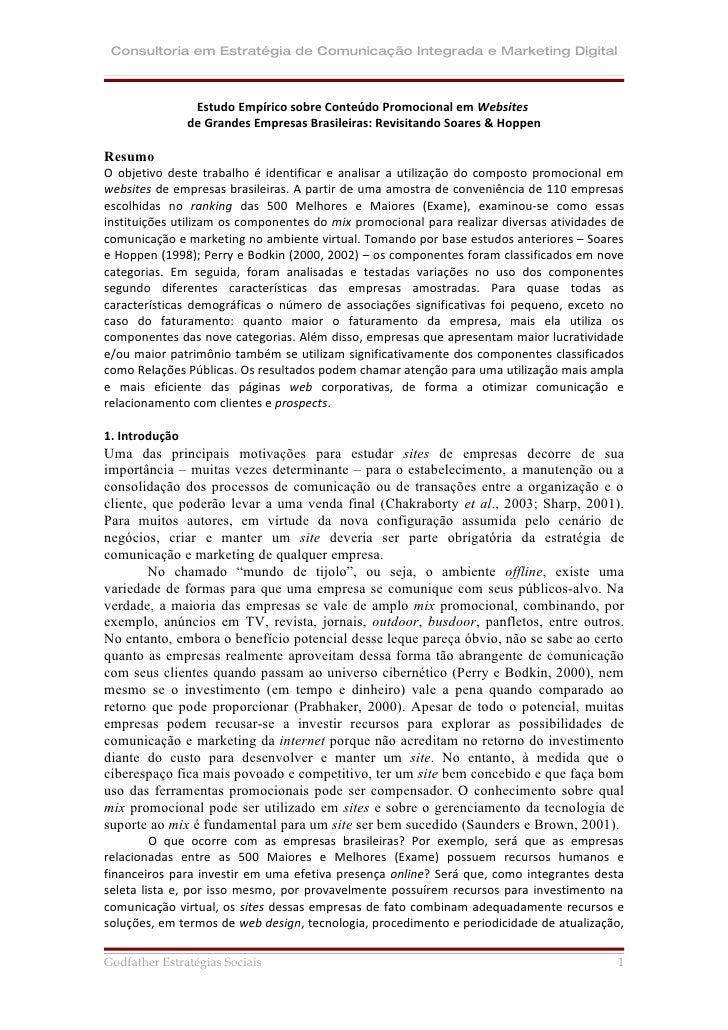 Consultoria em Estratégia de Comunicação Integrada e Marketing Digital                     Estudo Empírico sobre Conteúdo ...