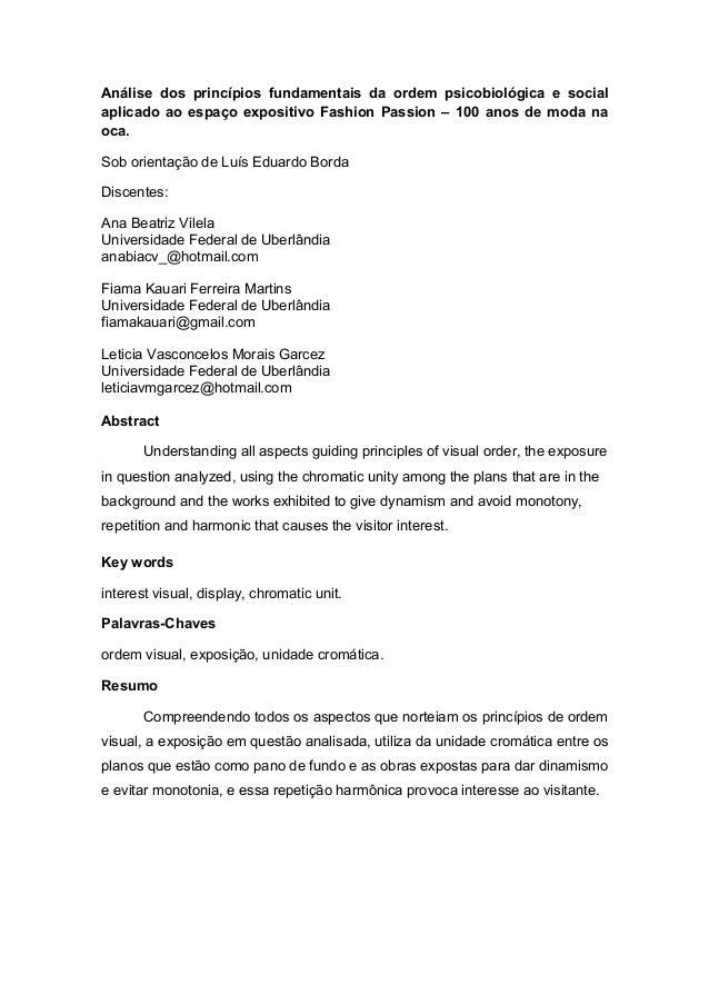 Análise dos princípios fundamentais da ordem psicobiológica e socialaplicado ao espaço expositivo Fashion Passion – 100 an...
