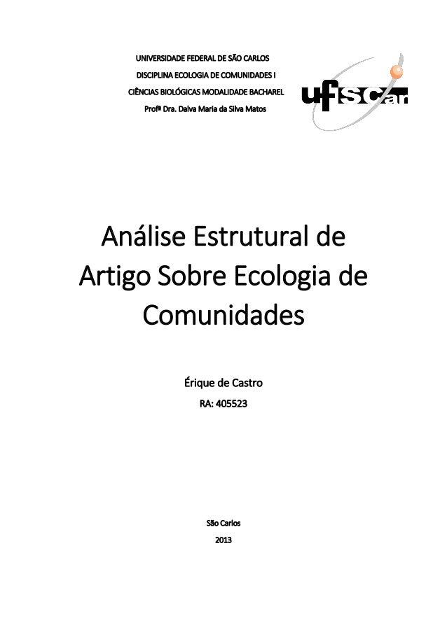 UNIVERSIDADE FEDERAL DE SÃO CARLOS      DISCIPLINA ECOLOGIA DE COMUNIDADES I    CIÊNCIAS BIOLÓGICAS MODALIDADE BACHAREL   ...
