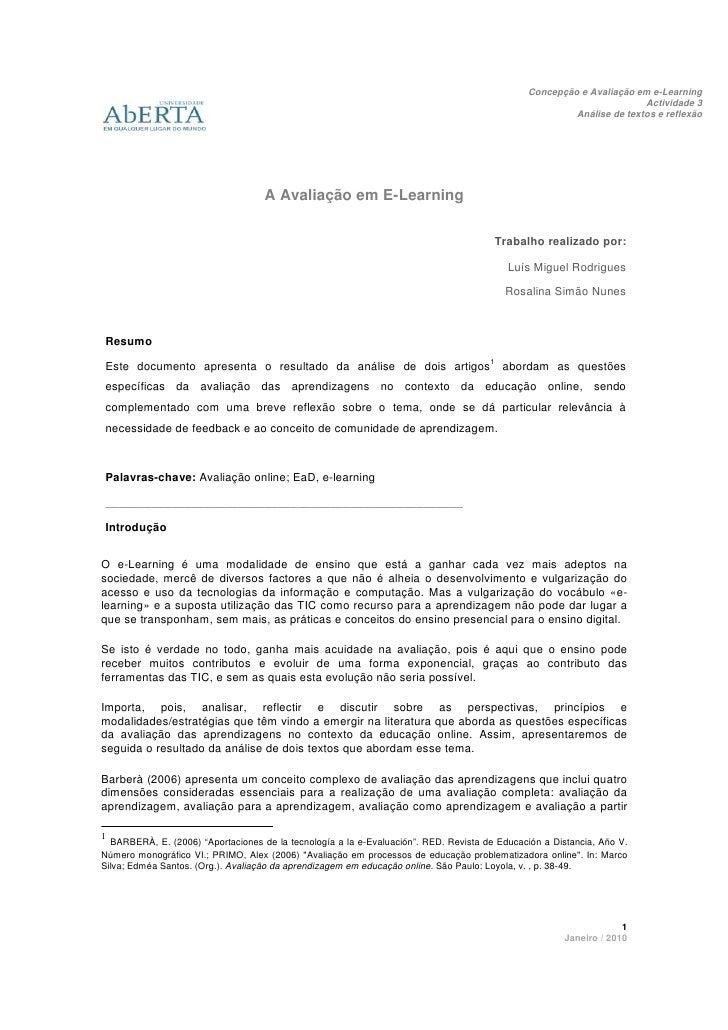 Concepção e Avaliação em e-Learning                                                                                       ...