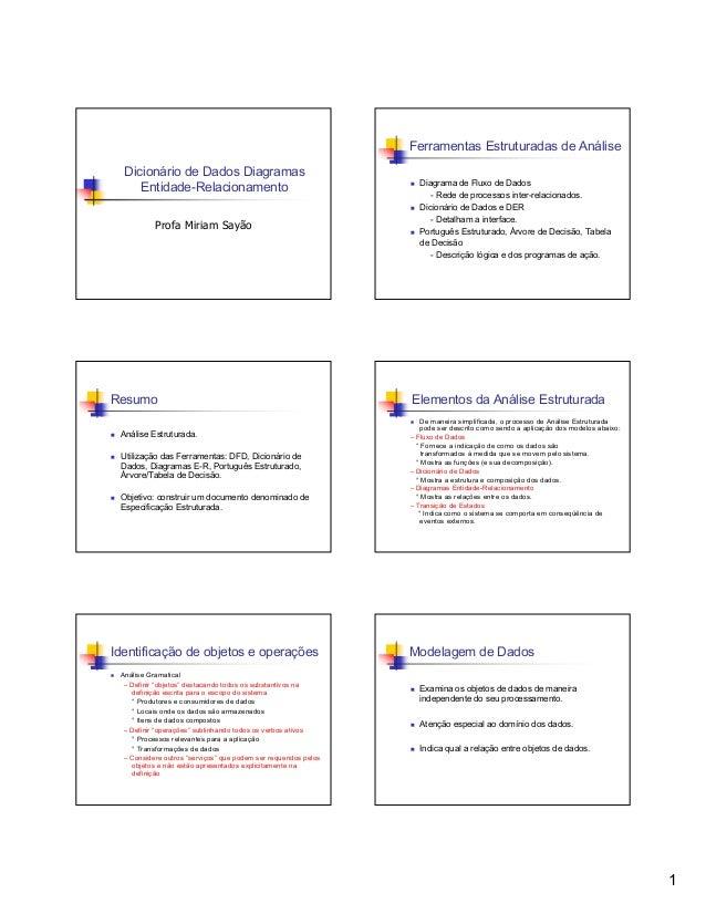 Ferramentas Estruturadas de Análise Dicionário de Dados Diagramas Entidade-Relacionamento Profa Miriam Sayão  Resumo Análi...
