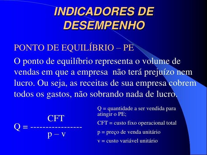 INDICADORES DE              DESEMPENHOPONTO DE EQUILÍBRIO – PEO ponto de equilíbrio representa o volume devendas em que a ...